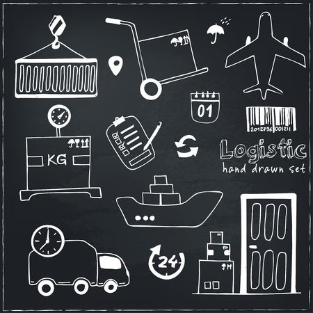 recipient: Hand drawn logistics and delivery sketch icons set isolated vector illustration