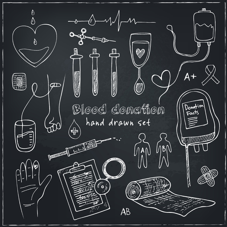 donor: Donor blood donation sketch decorative icons set isolated vector illustration