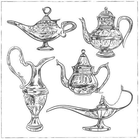 lampara magica: Conjunto de la lámpara mágica árabe para el mes sagrado de la comunidad musulmana, celebración de Ramadán Kareem. lámpara de aceite viejo estilo del bosquejo. ilustración vectorial aislado.