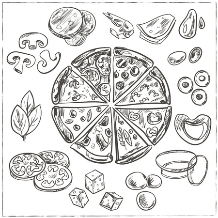 spicy mascot: Whole and sliced italian pizza sketches with different toppings, such as cheese, pepperoni, salami, mushrooms, tomatoes, olives Vintage illustration for design menus, recipes and packages product.