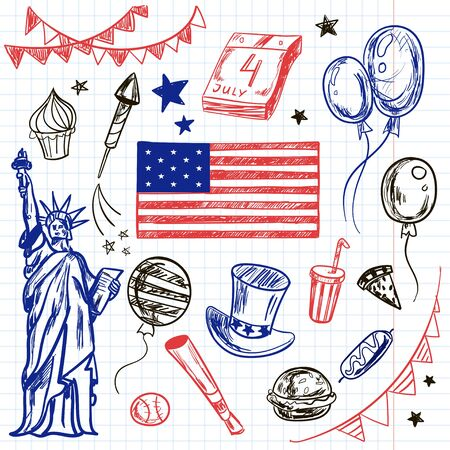 Happy Memorial Day American Themed Doodle Set National Symbols