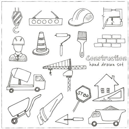 Set of doodle croquis icônes Architecture Bâtiment Construction isolé illustration vectorielle