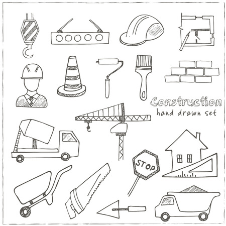 safety equipment: Set of doodle sketch Architecture Construction Building icons isolated vector illustration Illustration