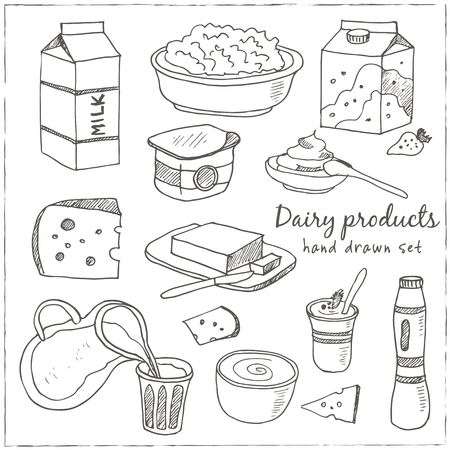 cheese cartoon: Dairy products hand drawn decorative icons set vector isolated illustration