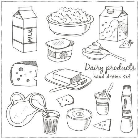 Prodotti lattiero-caseari disegnato a mano icone decorative set vector isolato illustrazione