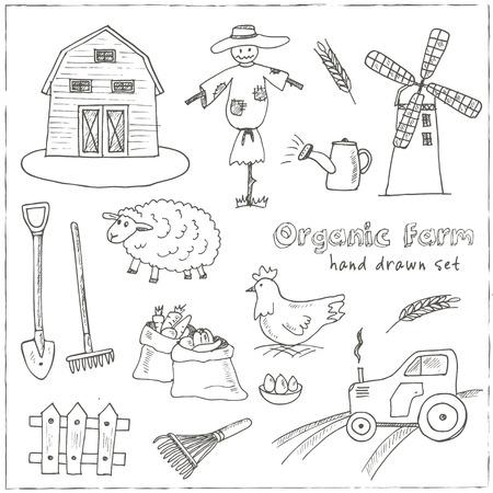 ruminant: Organic farm hand drawn decorative icons set vector isolated illustration