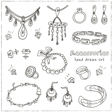 female hands: Accessories sketch icon set. Vintage hand drawn vector isolated illustrations of jewelry Illustration