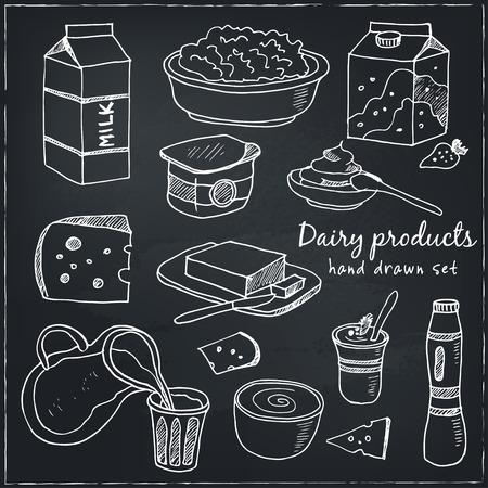 Produits laitiers dessinés à la main icônes décoratives définies illustration vectorielle isolé