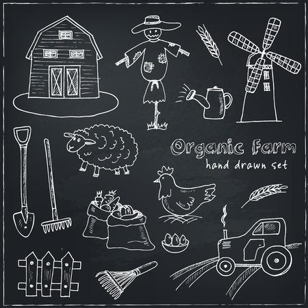 farm hand: Organic farm hand drawn decorative icons set vector isolated illustration