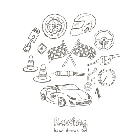 bolide: Racing auto items sketch icons hand drawn vector set with racing flags first place prize cup medal sport car isolated vector illustratio