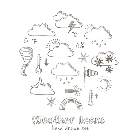 Set of doodle sketch weather icons. Isolated vector illustration
