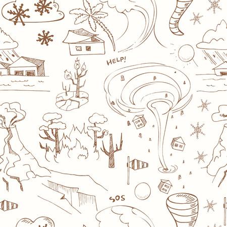 Patrón sin fisuras con el bosquejo del doodle de los desastres naturales terremoto tsunami tornado volcánica y otra cataclismo. ilustración vectorial aislado