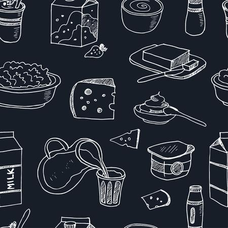 Seamless avec des produits laitiers tiré par la main icônes décoratifs mis