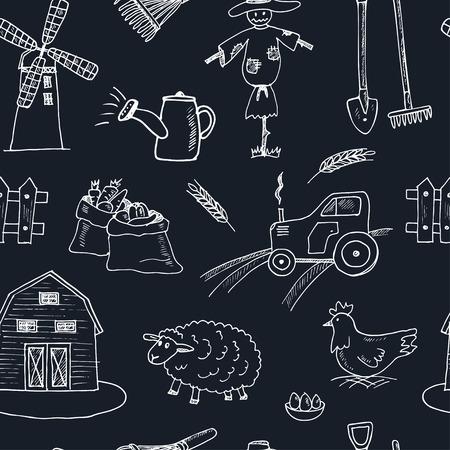 farm hand: Seamless pattern with Organic farm hand drawn decorative icons set vector illustration