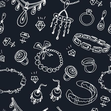 female hands: Seamless pattern with accessories sketch icon set. Vintage hand drawn vector illustrations of jewelry Illustration