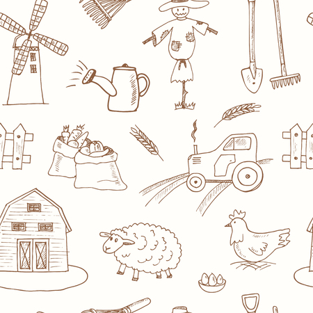 floral objects: Seamless pattern with Organic farm hand drawn decorative icons set vector illustration