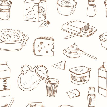Seamless pattern con prodotti lattiero-caseari disegnata a mano icone decorative impostate