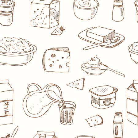 Seamless pattern with Dairy products hand drawn decorative icons set