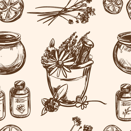 ayurveda: Ayurveda vector Hand drawn seamless pattern Healthy lifestyle Harmony with nature