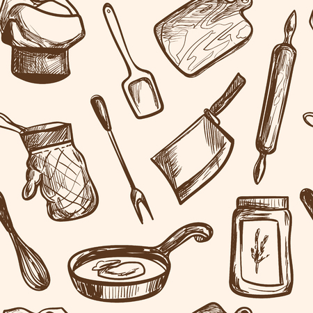 hand tool: seamless pattern hand drawn kitchen objects Vector isolated