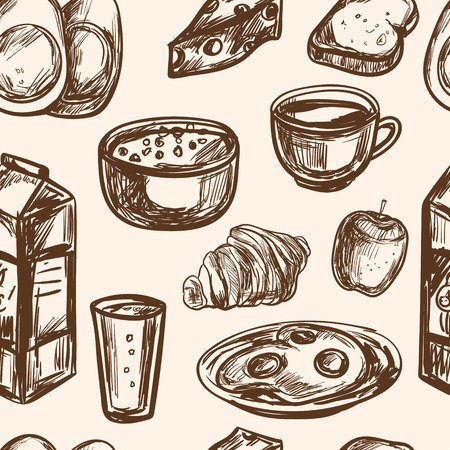 oats: hand drawn breakfast food seamless pattern vector vintage Illustration