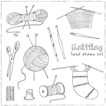 hobbies: Craft icons - Sewing Icons for sewing, knitting, crafts, hobbies. Collection of design elements isolated on White background. Vector illustration