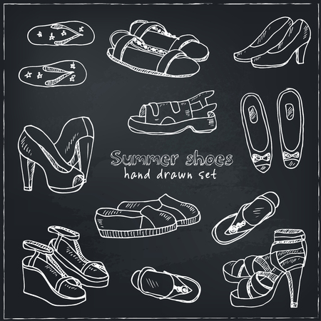Vector illustration of woman shoes set. Hand-drown objects. Spring-summer fashion collection.