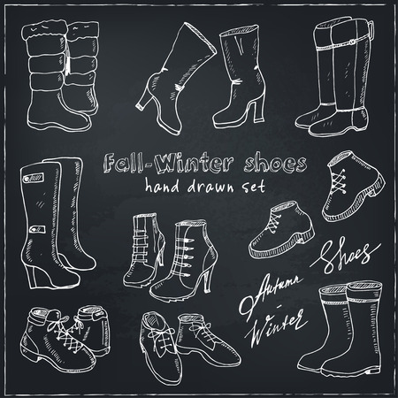 wellingtons: Vector illustration of woman fall and winter shoes, boots set. Hand-drown footwear illustrations. Fashion collection sketch.