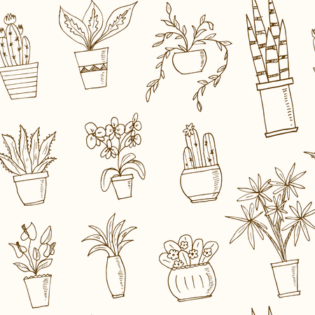 indoor bud: seamless pattern plants in a pot Hand drawn doodle vector sketch illustration Illustration