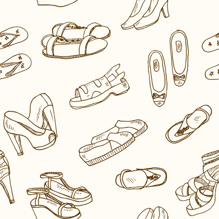 Vector illustration of woman shoes seamless pattern. Hand-drown objects. Spring-summer fashion collection. Illustration