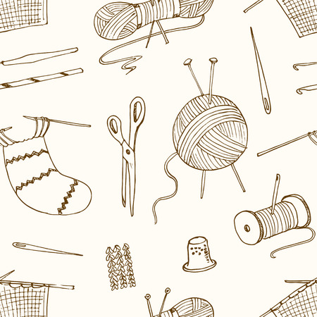 hobbies: seamless pattern -for sewing knitting crafts hobbies. Vector illustration
