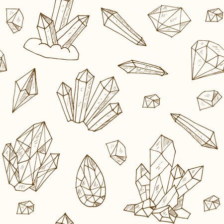 minerals: seamless pattern geometric crystals gem and minerals. Vector illustration