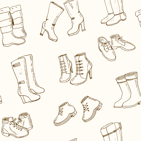 wellingtons: Vector illustration of woman fall and winter shoes, boots set. seamless pattern Hand-drown footwear illustrations. Fashion collection sketch.
