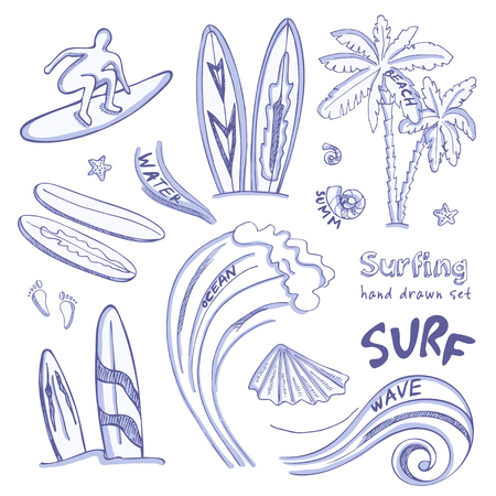 exhilaration: Set of doodle sketch Surfing sport icons. Isolated vector illustration