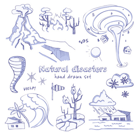 volcanic: Set of doodle sketch Natural disasters earthquake tsunami volcanic tornado and other cataclysm. Isolated vector illustration Illustration