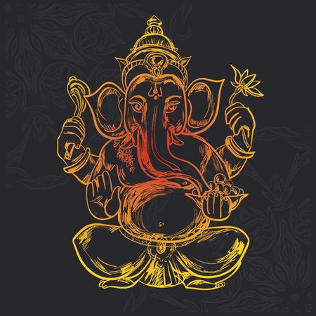 Hand drawn vector illustration of Sitting Lord Ganesha in Mandala Frame. For Tattoo, yoga, spirituality.