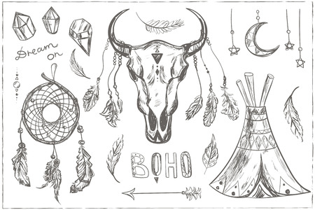 indian buffalo: Hand drawn ethnic design elements. Vector set with tribal, indian, aztec, hipster, boho elements. Buffalo Skull, Dream catcher