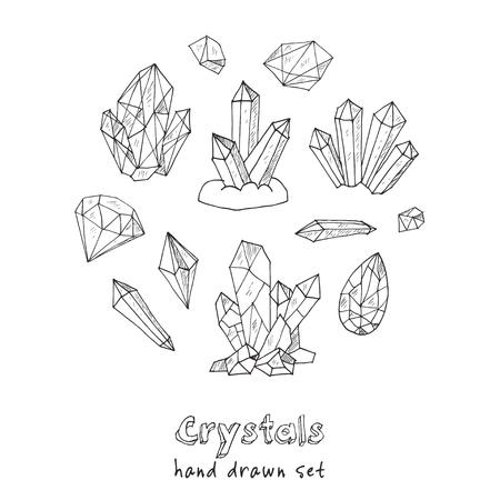 gem: Set of geometric crystals gem and minerals. Vector illustration