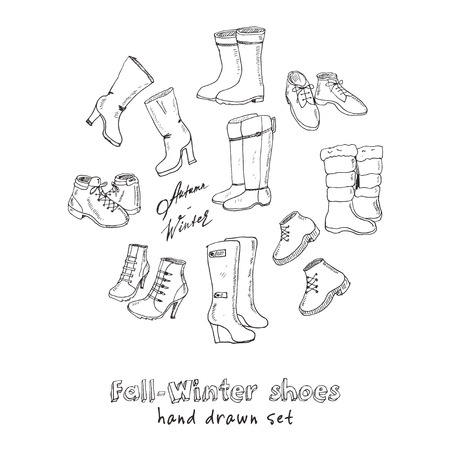 fashion collection: Vector illustration of woman fall and winter shoes, boots set. Hand-drown footwear illustrations. Fashion collection sketch.
