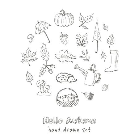 niedliche Hand gezeichnet Herbst Set Vektor-Illustration