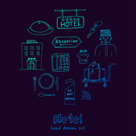 apartment bell: Vector hotel seat Hand drawn doodle sketch illustration Illustration