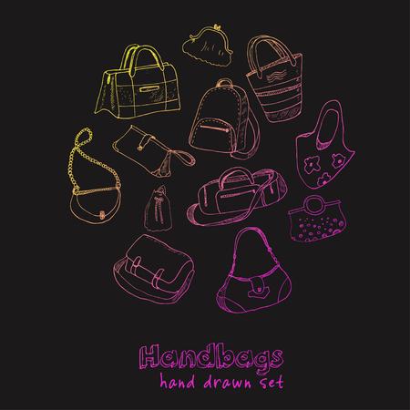 Hand drawn doodle sketch illustration set of bags - baggage for travel, suitcase, case, handbag Vector Illustration