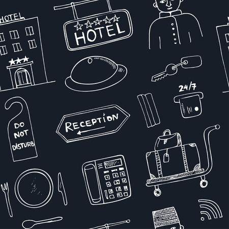 apartment bell: Vector hotel seamless pattern Hand drawn doodle sketch illustration Illustration