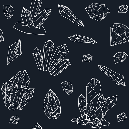 seamless pattern geometric crystals gem and minerals. Vector illustration