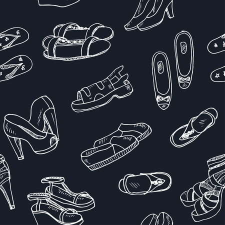 brogues: Vector illustration of woman shoes seamless pattern. Hand-drown objects. Spring-summer fashion collection. Illustration