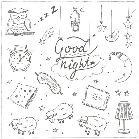 nightdress: Doodle set of images about good night Vector illustration
