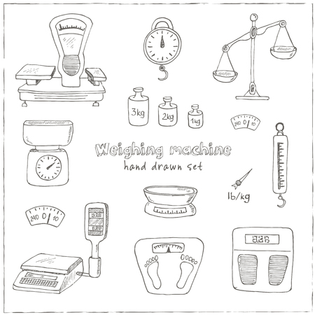 balanza de laboratorio: Doodle weighing machine set tools set Vintage illustration for identity, design, decoration, packages product and interior decorating