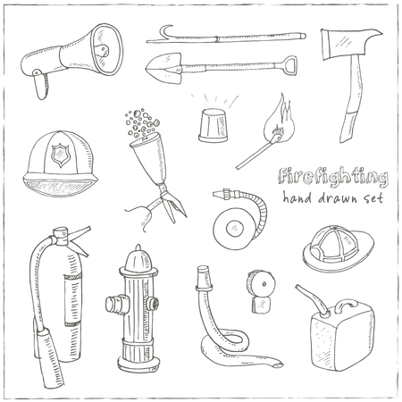 barrage: Doodle fire fighting tools set Vintage illustration for identity, design, decoration, packages product and interior decorating