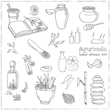 natural beauty: Doodle Set of ayurveda elements Vintage illustration for identity, design, decoration, packages product and interior decorating