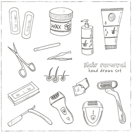 waxing: Doodle Set of hair removal tools Vector illustration